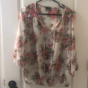 Sheer floral Peasant shirt